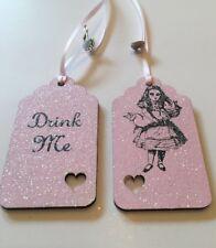 MANGIAMI DRINK ME Alice nel paese delle meraviglie Tag Regalo Festa/Decorazione Bottiglia TAG