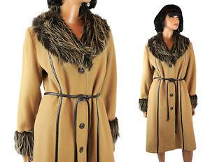Princess Coat Sz M Vintage Long Tan Brown Wool Blend Gray Faux Fur Collar Cuffs