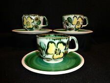 Boch Belgium IN THE MOOD CUPS & SAUCERS Lot x 3 Handpainted Floral