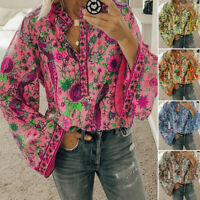 Womens Long Sleeve Floral Blouse Ladies Casual Loose Button Shirt Tops Plus Size