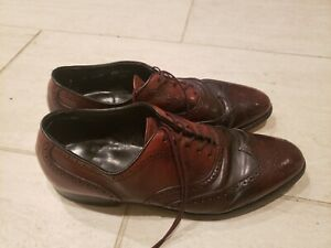 Mens ET Wright Cognac Shell Cordovan Leather Wingtip Oxford Shoes 10 B/AA Vtg