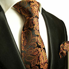 Braune paisley Krawatten Set 2tlg Seidenkrawatten 630