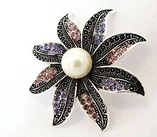 14K W Gold Pl Amethyst + Sapphire Crystal Starfish Brooch + Pendant, 17mm Pearl