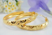BEAUTIFUL DIAMOND-CUT HOOPS 22K 18K Yellow Gold GP Baht Thai Earrings