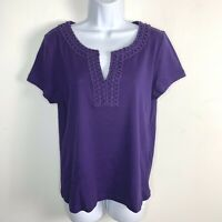 Talbots Womens Top Sz L Purple Short Sleeve V-neck Embelished Neck T Shirt  AR28
