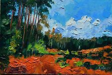 "Forest Woods Impressionist Landscape Original Oil Painting Relief Impasto 8""x12"""