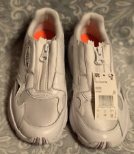 NWOB Adidas Falcon Zip EF2047 Women 7 W White Zip/Lace Running Sneakers Shoes