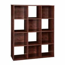 Dark Cherry 12 Cube Bookcase Storage Organizer Wooden Office Shelving Bookshelf