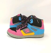 DC Footwear Womens Skate Shoes Rebound HI Style 302164 Leather Pink Blue Size 10