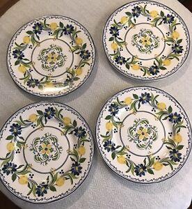 Williams Sonoma 11 3/4 Inch Aerin Lauder Seville Dinner Plates Lemon Set of 4