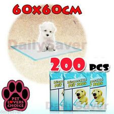 200pcs Puppy Pet Dog Cat Training Pads 60x60cm Super Absorbent Wee Loo Toilet