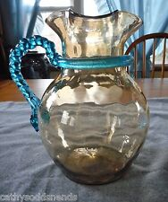 EAPG NEW ENGLAND GLASS INVERTED THUMBPRINT W/ BLUE TWISTED ROPE HANDLE PITCHER