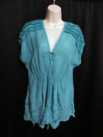 Johnny Was Silky Cupro Tunic Top Turquoise Blue Embroidered Fray Trim Size M