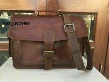 Leather Messenger Waxed Natural Genuine Vintage Leather Laptop Satchel Bag