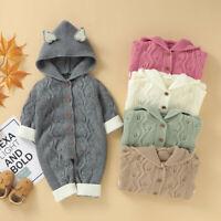 Newborn Baby Girls Boys Winter Warm Knit Outwear Sweater Hooded Romper Jumpsuit