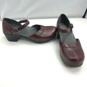 Dansko Mary Jane Heels Comfort Clog Buckle Burgundy Red Womens Size 41 US 10.5