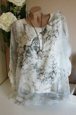 Chiffon Blouse Quirky TUNIC Bat Sleeve White-Grey Oversize 38 40 42