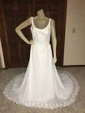Alfred Angelo Wedding Dress Size 10 Ivory Beaded Pre-owned -see details