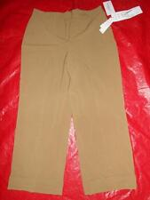 NWT$50 LARRY LEVINE Brown Stretch Cuffed DRESS Pants Capri Career Crop Womens 8