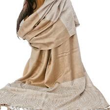 Schal Damenschal weich 215 x 75 cm Fransen Tuch Viskose Stola Beige Creme CL
