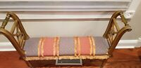 Antique Narrow Bench with New Upholstery