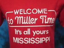 NOS vintage 80s MILLER BEER MISSISSIPPI T-Shirt SMALL mgd lite thin DEADSTOCK