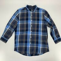 Chaps Ralph Lauren Mens Long Sleeve Button Down Shirt SIze M Blue Plaid Casual