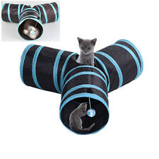 Foldable 3 WAYS Pet Cat Tunnel Tubes Play Toys Kitten Dog Rabbit Exercise Toy