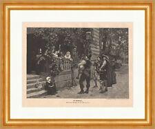Die Musikanten Holzstich von Ch. Meisonnier Dudelsack Bombarde veranda  P 0122