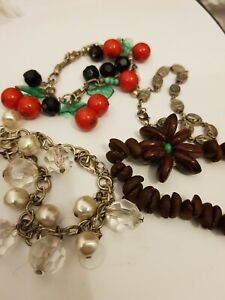 Lot Of Bracelets Beads Religious Cherry Flower Rockabilly pin Up women jewellery
