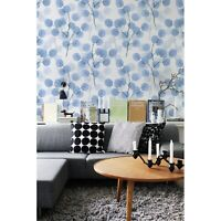 Removable wallpaper Branches with round blue leaves Watercolor self adhesive art