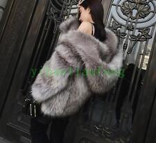 LUSSO Nuovo Argento caldo Pelliccia Cappotto Invernale Donna Lungo Con Cappuccio All'aperto Tempo Libero