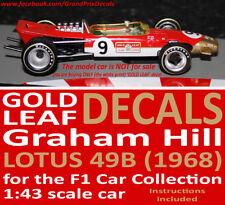 Formula 1 Car Collection Graham Hill Lotus 49B GOLD LEAF water slide DECALS 1:43