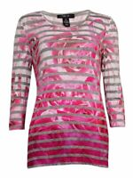 Style & Co Women's Striped Floral 3/4 Sleeve Blouse