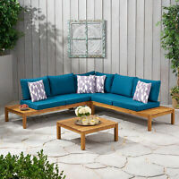 Vashti Outdoor 5 Seater V Shaped Acacia Wood Sectional Sofa Set with Cushions
