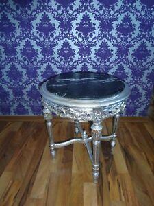Barocktisch Beistelltisch Salontisch Lampentisch mit Marmorplatte schwarz silber