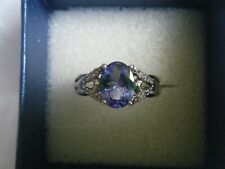AAA Tanzanite and Diamond White Gold Ring by Gems TV/Gemporia/TGGC