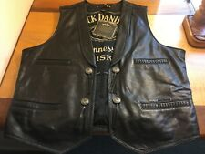 NWT Men's JACK DANIELS 2 XL Black Leather Biker Motorcycle Vest CONCEAL REDUCED