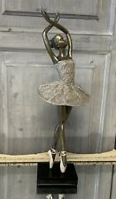 Silver Antique Grey Ballerina Rose Tutu Statue Sculture Ballet Dancing French
