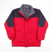 Vintage NAUTICA Red Padded Hooded Fleece Lined Outdoor Jacket Womens Size Large