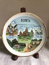 """Vintage 7"""" Iowa Gold Trim Souvenir Plate Herbert Hoover Birthplace - CNC Japan"""