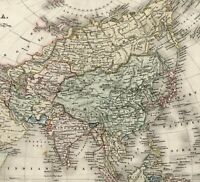 Asia India Arabia China Siam Japan c.1836 Dower beautiful map old hand colored