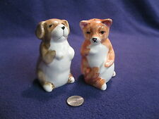 Dog Cat Sitting Up Begging Grooming Salt and Pepper Shakers Ceramic         21