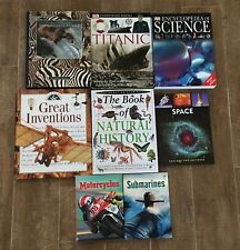 Encyclopedia of Science educational book lot children titanic motorcycle