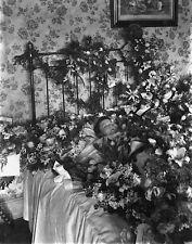 Photo. 1890. Postmortem Small Boy - Greens & Flowers