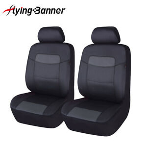 2 Car Seat Covers Leather Universal Front Set Grey Gray Black Airbag Compatible