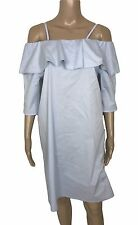 SET ~ Kleid Carmen Ausschnitt volant hellblau *K120* ~NEU Gr. 40 L 973