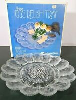 "Vtg Indiana Glass Egg Relish Serving Tray Platter / Heavy Duty / 11"" Pre-Owned"