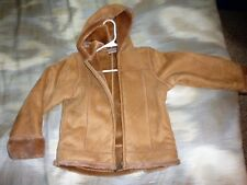 Tan faux suede coat, age 10, by NEXT, warm interior, with hood