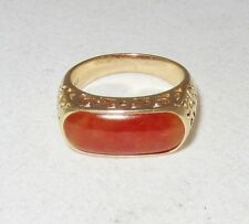 14K Yellow Gold Saddle Ring w/ 17.5mm A Grade Orange JADEITE Jade (5.7g, size 7)